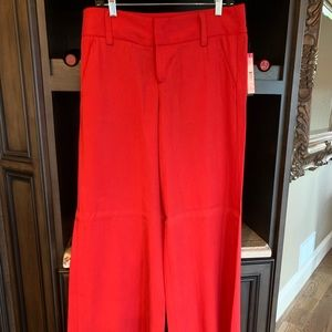Alice + Olivia red wide leg silk pants